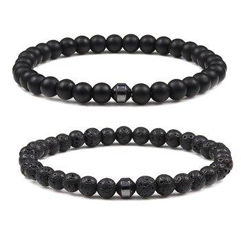 Classic Men Bracelet 6mm Natural Lava Stone Bead Energy Hematite Strand Thin Bracelets Bangles Homme Yoga Jewelry Pulsera Hombre 1
