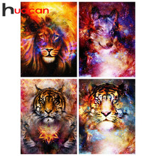 Huacan Tiger Diamond Painting Kit Mosaic Animal Farmhouse Home Decor Embroidery Fantasy Diamond Art