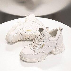 Swyivy couro genuíno sapatos de cunha outono mulher 2019 novo inverno grossos tênis femininos sapatos rasos preto sapatos femininos baixos planos