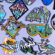 Remendos de viagem de aventura para a etiqueta de roupas montanha acampamento emblema listra ferro em remendos em roupas van gogh bordado remendo