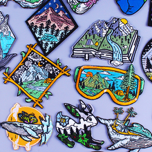 Adventure Travel Patches For Clothing Sticker Mountain Camping Badge Stripe Iron On Patches On Clothes Van Gogh Embroidery Patch