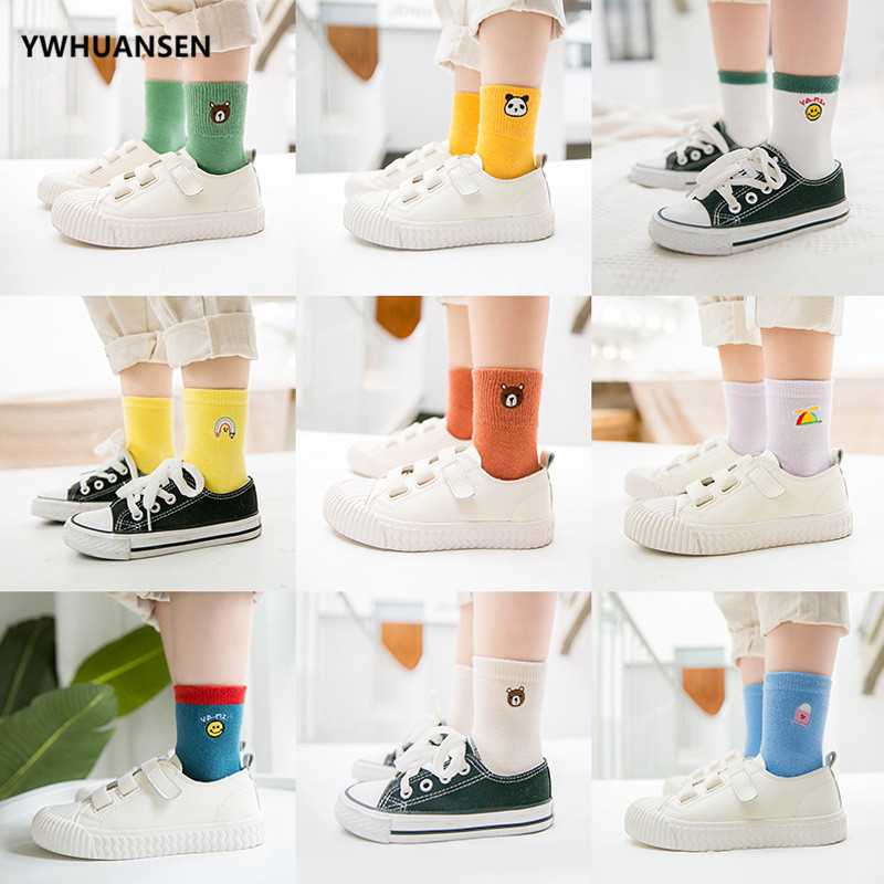 YWHUANSEN 5 Pairs/lot 1 To 11 Yrs Boy's Cotton Children's Socks Autumn And Winter Embroidery Striped Socks For Baby Girls 2019
