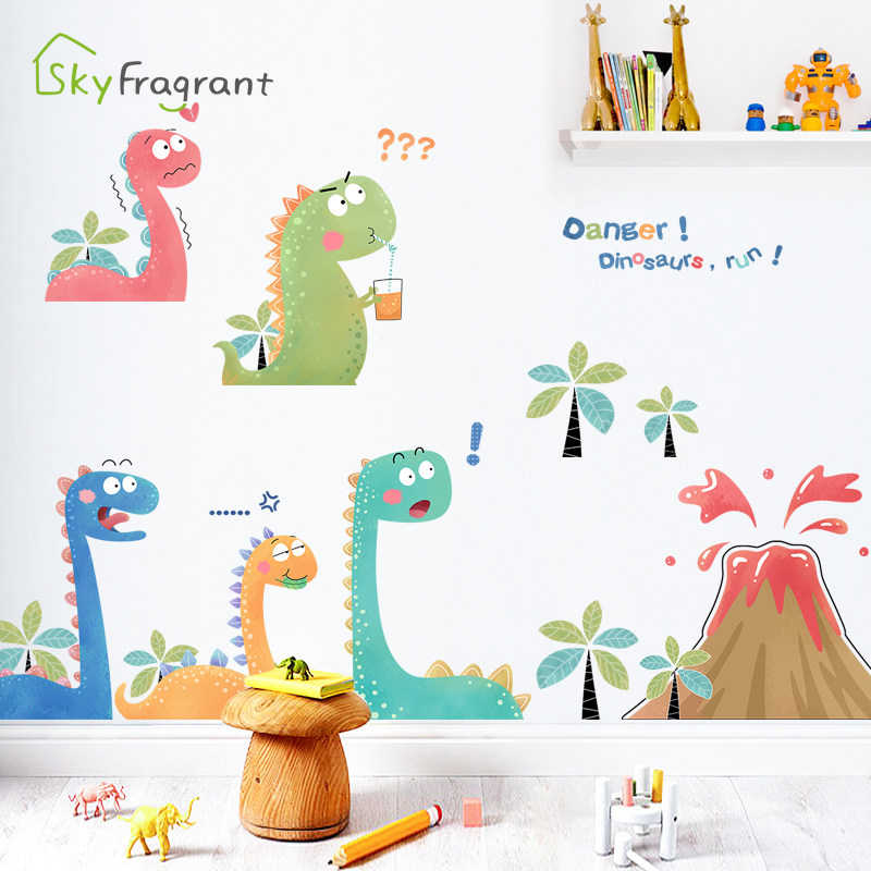 Cartoon Volcano Little Dinosaur Wall Stickers Creative Kids Room Decoration Cute Sticker Self Adhesive Baby Bedroom Wall Decor Wall Stickers Aliexpress