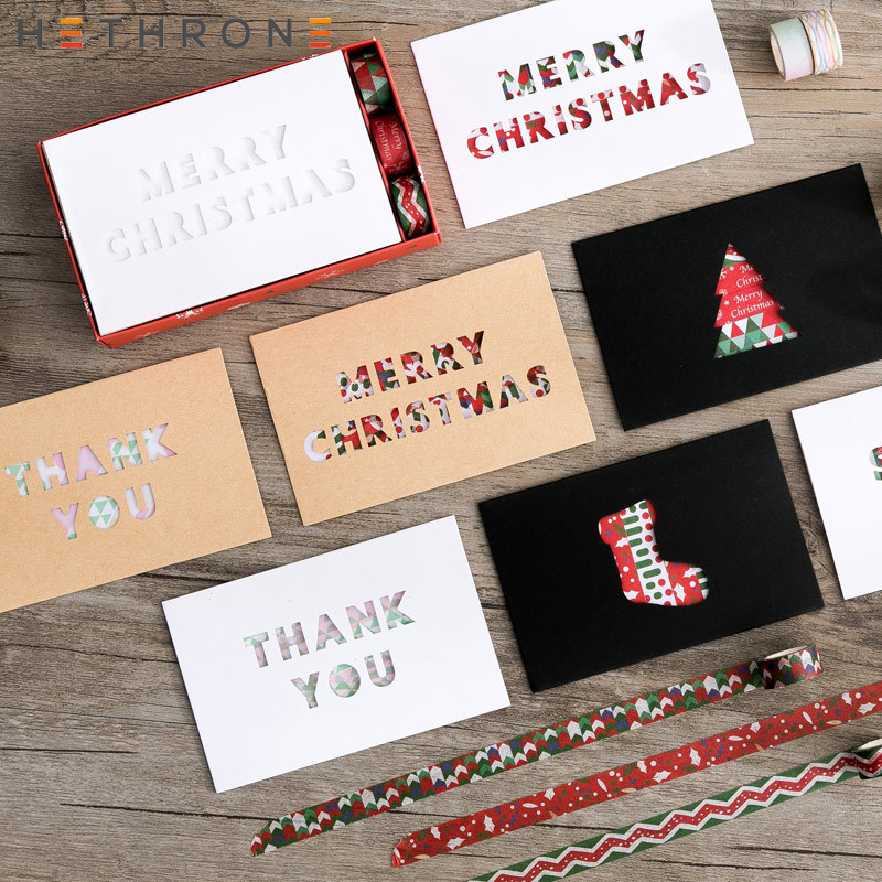 Hethrone 1pcs Creative Hollow Christmas Blessing Series Mini Cards Greeting Card With Decorative Tape Birthday Greeting Card Set