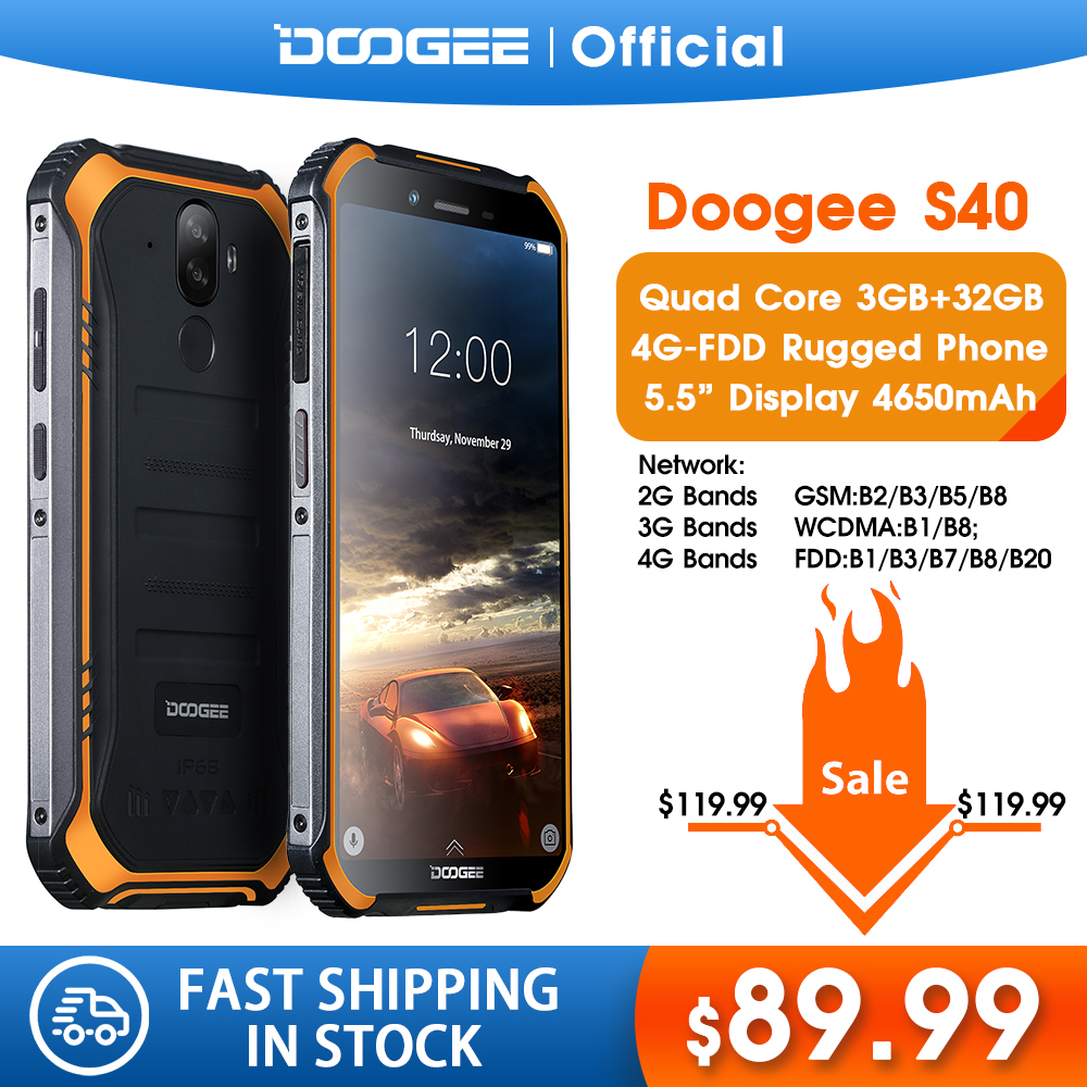 IP68/IP69K DOOGEE S40 MTK6739 Quad Core 2GB RAM 16GB ROM Android 9.0 4GNetwork Rugged Mobile Phone 5.5inch Display 4650mAh 8.0MP