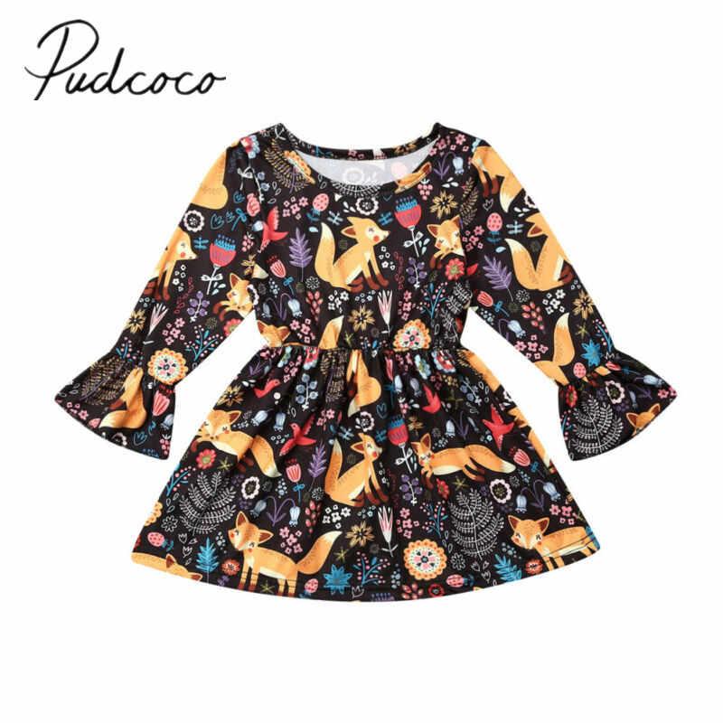 2019 ベビー春秋の服キツネ幼児子供の女の子のドレスフレア長袖花チュチュドレス動物服セット 1-6T