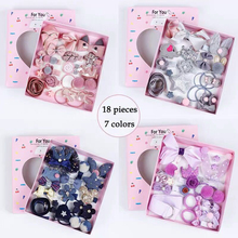 1 Set = 18 PCS New Kids Children Accessories Hairpins Barrettes Baby Fabric Bow Flower Headwear Hair clips Girls Headdress 2 pcs 1 pair children baby girls hair accessories clip girls hairpins barrettes headwear flower hairpin phr0521