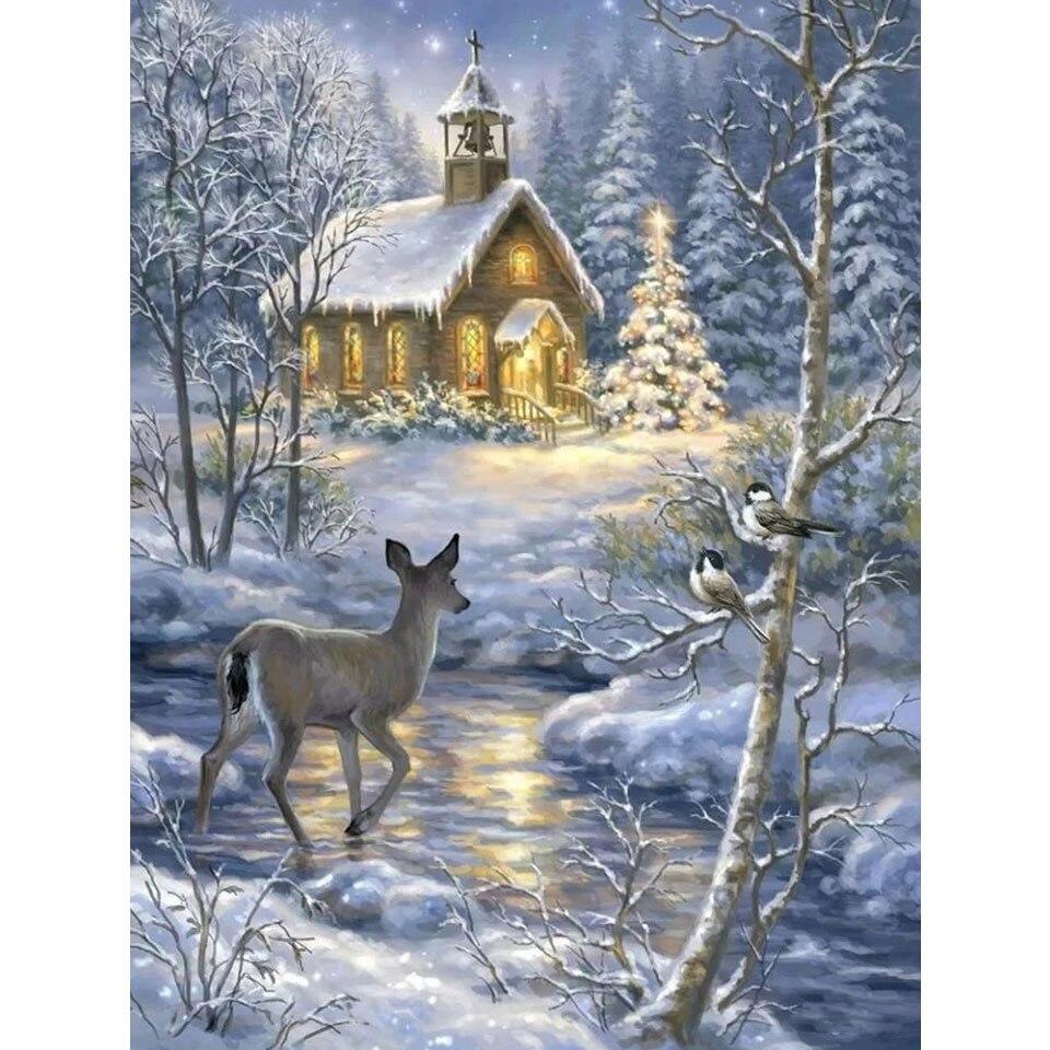 Алмазная 5D картина «сделай сам», зимний Снежный пейзаж, вышивка крестиком, алмазная вышивка, натуральное и животное