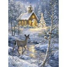 5D Diy Pintura Diamante do ponto Da Cruz Paisagem da Neve do Inverno Bordado Cheio de Diamantes Strass Mosaico Imagem Da Natureza e Dos Animais