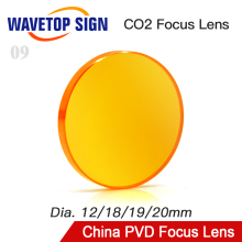 WaveTopSign селенид цинка, вакуумное напыление, Китай Dia.12 18 мм 19 мм 20 мм линза для наведения фокуса FL38.1 50,8 63,5 76,2 101,6 мм для Co2 аппарат для лазерной порезки