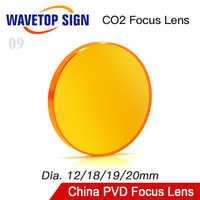 WaveTopSign China PVD ZnSe Dia.12 18 19 20mm lente de enfoque FL38.1 50,8, 63,5, 76,2, 101,6mm para Co2 láser grabador