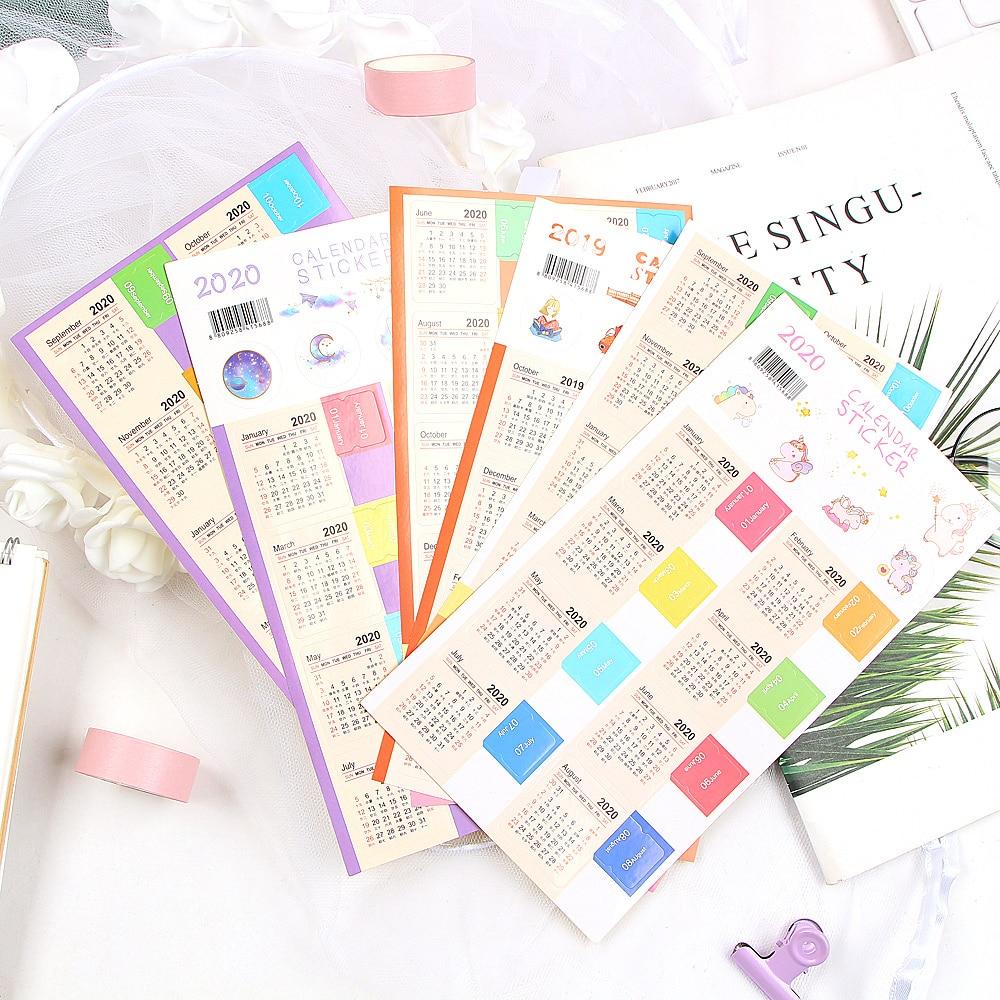 2 Pcs/pack Cute 2020 Year Calendar Stickers Notebook Planner Decorative Sticker Mini Calendar Label Index Bookmark Stationery