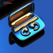 Tws bluetooth fones de ouvido condução óssea fone com microfone estéreo sem fio 1800mah caixa carregamento esporte