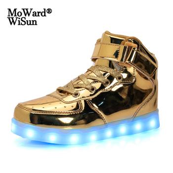 Rozmiar 26-41 dzieci świecące trampki buty LED z zapaloną podeszwą świecące buty dla dzieci chłopcy dziewczęta kosz LED pantofle tenis tanie i dobre opinie moward wisun 7-12y 12 + y CN (pochodzenie) Wiosna i jesień Unisex Dobrze pasuje do rozmiaru wybierz swój normalny rozmiar