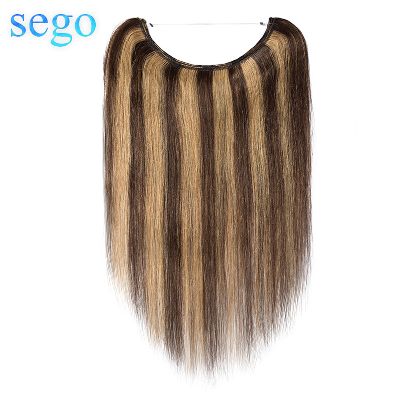 "SEGO 60g-80g 16""-24"" Invisible Crown Real Human Hair Extension Wire in Hairpieces Non-Remy Indian Hair Translucent Fish Line"