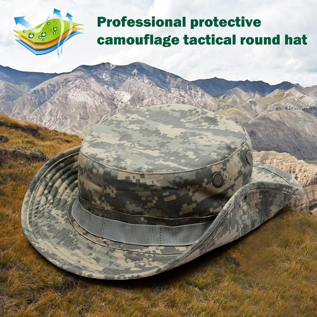 Camouflage Tactical Cap Military Boonie Hat US Army Caps Camo Men Outdoor Sports Sun Bucket Cap Fishing Hiking Hunting Hats 60CM 4