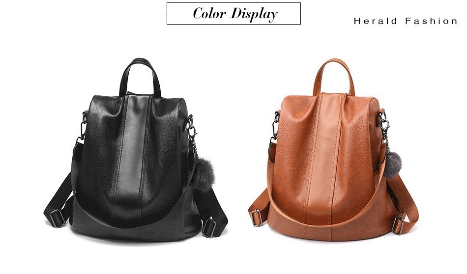 H2b7fea767d644944a3d8b9664ce322f2s HERALD FASHION Quality Leather Anti-thief Women Backpack Large Capacity Hair Ball School Bag for Teenager girls Male Travel Bags