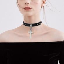 Choker Necklaces-Statement Punk Jewelry Cross-Pendant Neck-Rock Gothic Women for Man