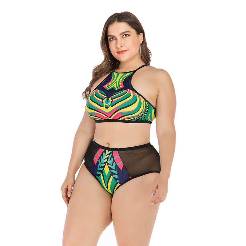 New Sexy Plus Size Swimsuit High Neck Bikini Women Backless Mesh Swimwear L 4XL Girl High Waist Bathing Suit Zipper Bikini Set in Bikinis Set from Sports Entertainment