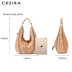 Image 5 - CEZIRA sacs à main en cuir PU souple pour femmes, sac à épaule ajouré grand Hobos avec fermeture éclair à pompon, fourre tout nouvelle mode