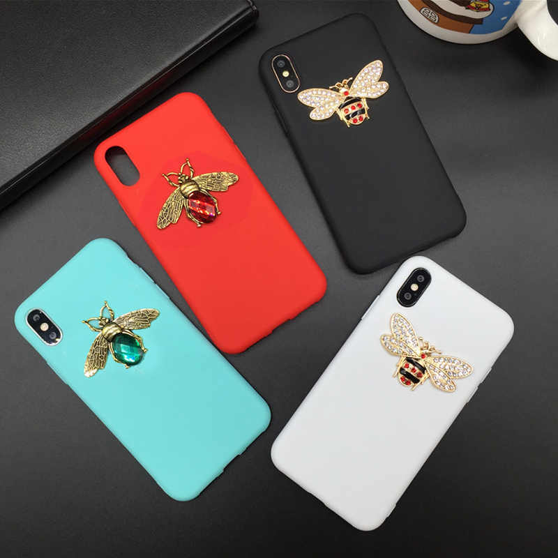 Luxury Diamond Bee Case for Huawei Mate 20 Lite 10 P10 P20 Pro P30 Pro Y6 Y7 Y9 2019 Candy Color TPU Soft Silicon Cover Fundas
