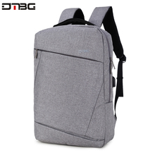 "DTBG グレーバックパック 15.6 ""ラップトップバックパック男性の女性のファッションスリム旅行バッグ大容量防水カレッジスクール Mochilar"
