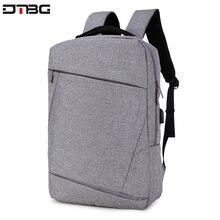 "DTBG Gray Backpack 15.6"" Laptop Back Pack Men Women Fashion Slim Travel Bags Large Capacity Waterproof College School Mochilar"