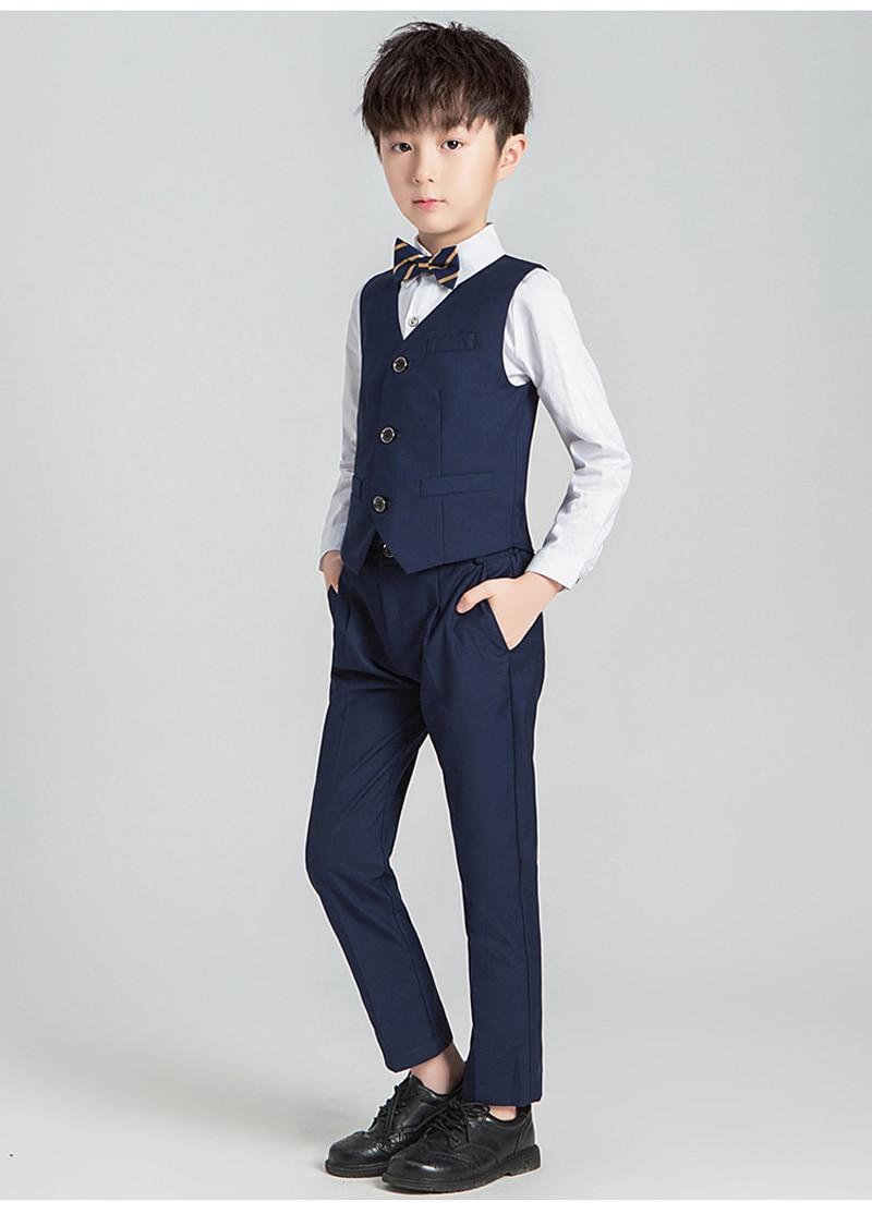 Костюм с цветочным принтом для мальчиков Детский Блейзер, торжественное платье, комплект одежды для свадьбы, 3/4/5 предметов, костюм+ штаны+ жилет+ рубашка+ галстук, Детские смокинги Garcon