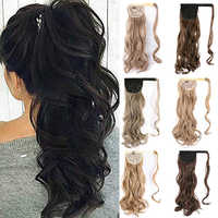 Kong&Li Long Wave Ponytail Hair Extension Clip In Synthetic Pony Tail Heat Resistant Fake Hair Ponytail Extension wrap round