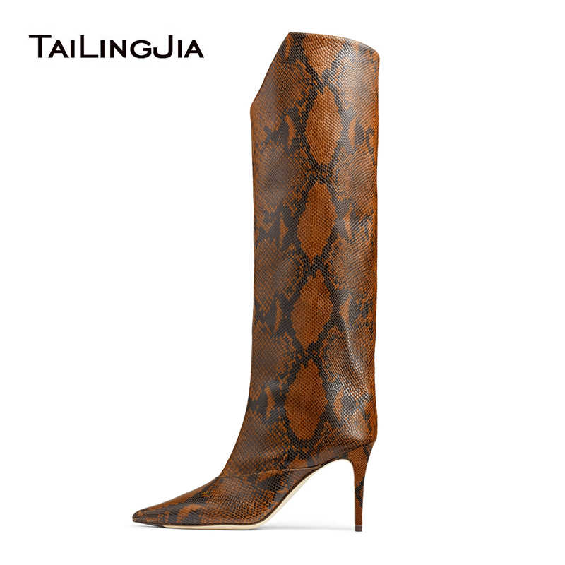 Snake Print Knee High Boots 2019 High Heel Long Boots Women Fashion Winter Shoes Woman Mid Heel Ladies Tall Boot Brown Big Size