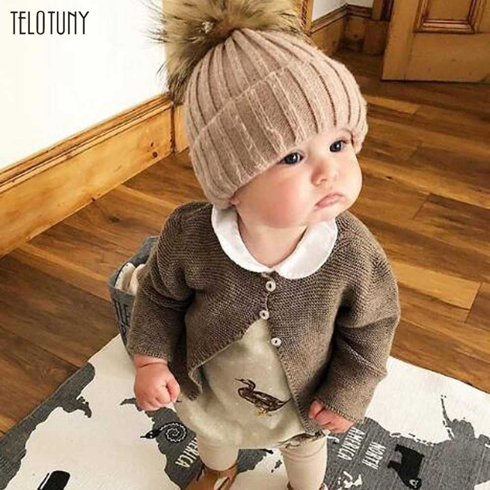 TELOTUNY New Winter Hats For Kids Pompom Fur Knitted Beanie Cap Baby Children Fur Pom Pom Hat Girls Boys Warm Outdoor Caps 1204