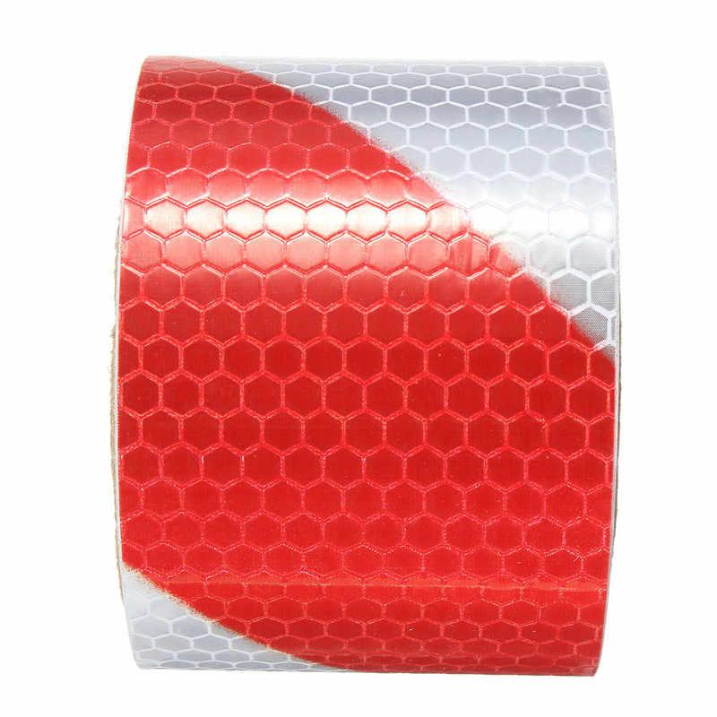 """Nowy 2 """"x 10"""" 3 metrów, czerwony, biały, odblaskowe ostrzeżenie o bezpieczeństwie taśma ostrzegawcza naklejki foliowe"""