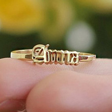 Custom Old English Name Ring Gold Stainless Steel Letter Rings For Women Best Friends Wedding Band Handmade Jewels