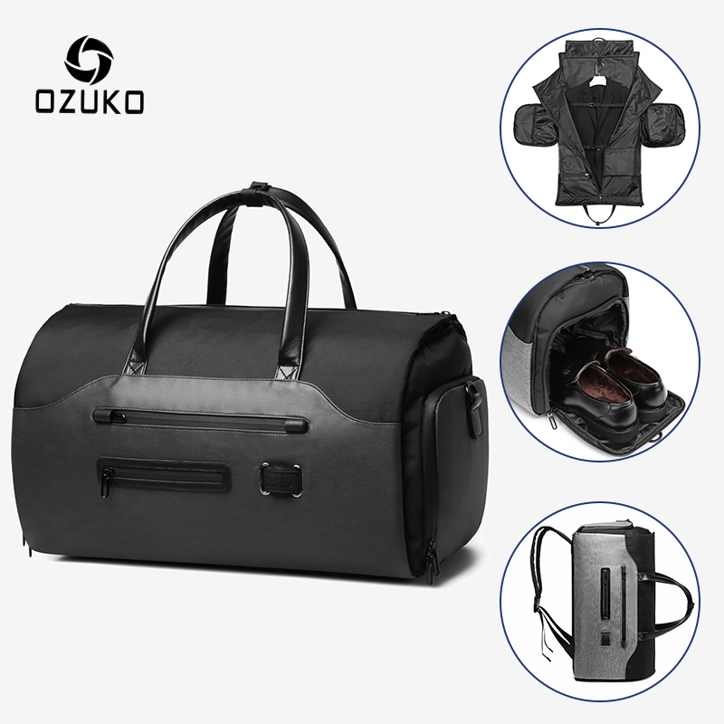 OZUKO Multifunction Men Suit Storage Travel Bag Large Capacity Luggage Handbag Male Waterproof Travel Duffel Bag Shoes Pocket