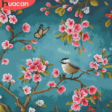 HUACAN Cross Stitch Flower Bird Needlework Sets White Canvas DIY Home Decoration 14CT 40x40cm Embroidery Landscape Kits