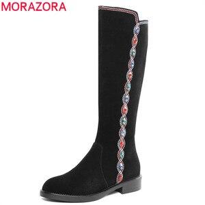 Image 1 - MORAZORA 2020 top qualität wildleder leder knie hohe stiefel frauen kristall zip Ethnische stil herbst winter stiefel frau casual schuhe