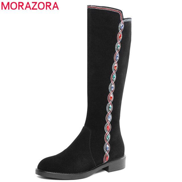 MORAZORA 2020 top qualität wildleder leder knie hohe stiefel frauen kristall zip Ethnische stil herbst winter stiefel frau casual schuhe