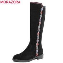 MORAZORA 2020 למעלה איכות זמש עור הברך גבוהה מגפי נשים קריסטל zip אתני סגנון סתיו חורף מגפי אישה נעליים יומיומיות