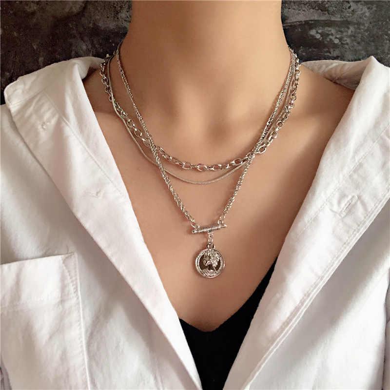 ヒップホップシンプルなシルバー色厚いチェーンチョーカーネックレス女性ヴィンテージラウンドアバターコインジオメトリステートメントネックレスジュエリー