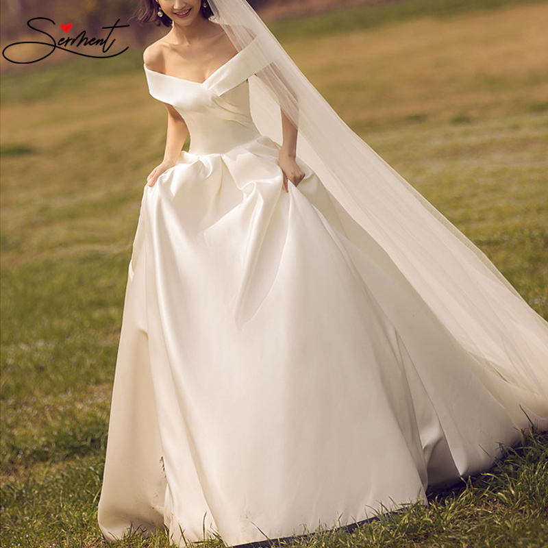 SERMENT Luxury Silky And Comfortable Satin Wedding Dress Strapless Lace Up Off The Shoulder 50cm Trailing Pregnant Women Size