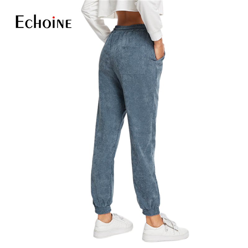 Image 2 - Casual Autumn Winter Drawstring purple navy gray Corduroy Women Pants  Elastic Waist Warm High Waist Loose Female Pant Trousers-in Pants & Capris from Women's Clothing
