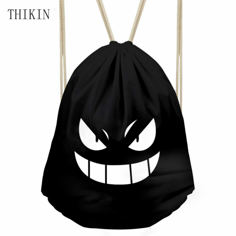 THIKIN Hot Anime Pokemon Gengar Gym Drawstring Bag Multicolors Backpacks Outdoor Travel Sport Bags Monster Eyes Hiking Sack