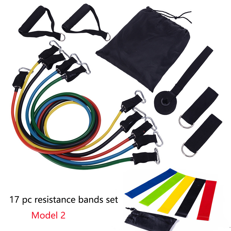 11pc Resistance Bands Set 17 Stks/set Home Workout Elastic Sports Bands Bande De Resistance Fitness Band Rubber Loop Buis Bands