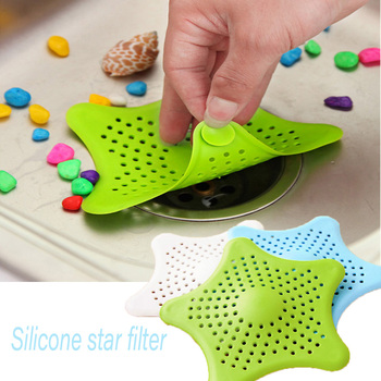 1pc Kitchen Silicone Five-pointed Star Sink Filter Sucker Bathroom Floor Drains Stopper Shower Bathtub Waste Hair Slag Catcher image