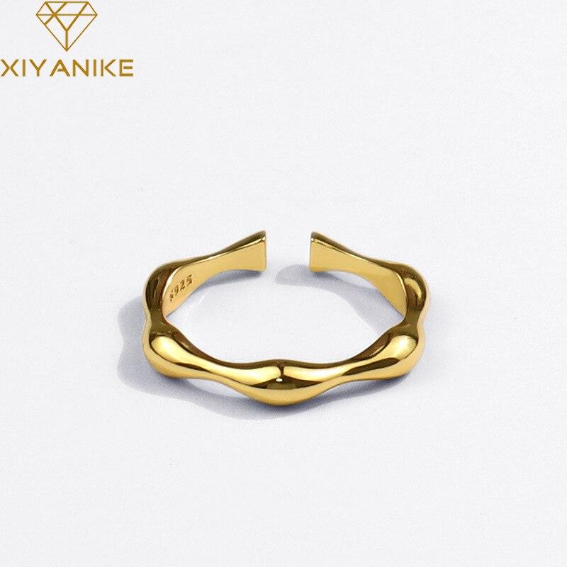 XIYANIKE – bague hexagonale en argent Sterling 925 pour femme, anneau géométrique, mode rétro Simple, fait à la main, livraison directe en gros