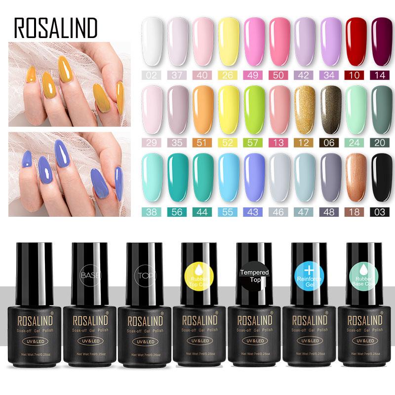 ROSALIND Nail Gel Polish 7ml  Nail Art Semi Permanent UV Nails All For Manicure Base Top Coat Gel Nail Polish Primer Gel Varnish