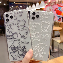 Cartoon Cute Winnie the Pooh phone Case for iPhone 11 Pro 6 7 8 Plus X Xr Xs MAX bear Transparent soft Shell Cover Coque Coupons