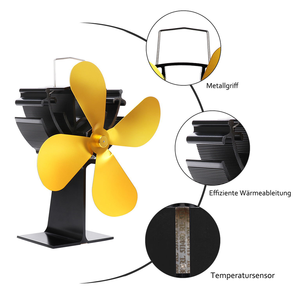 4 Blades Durable Practical Metal Gold Home Energy-Saving Winter Lightweight Heat Operated Fireplace Fan Portable Low Noise