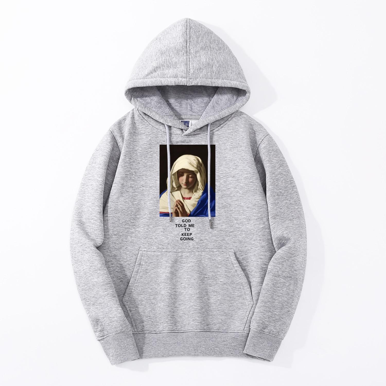 Virgin Mary Vintage Print Men Sweatshirts Fleece High Quality Mens Hoodies 2019 Spring Winter Hip Hop Casual Fashion Streetwear