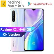 OPPO Realme X2 6.4 6 go de RAM 64 go ROM Snapdragon 730G 64MP Quad caméra NFC VOOC 30W Charge rapide 4000mAh téléphone mobile